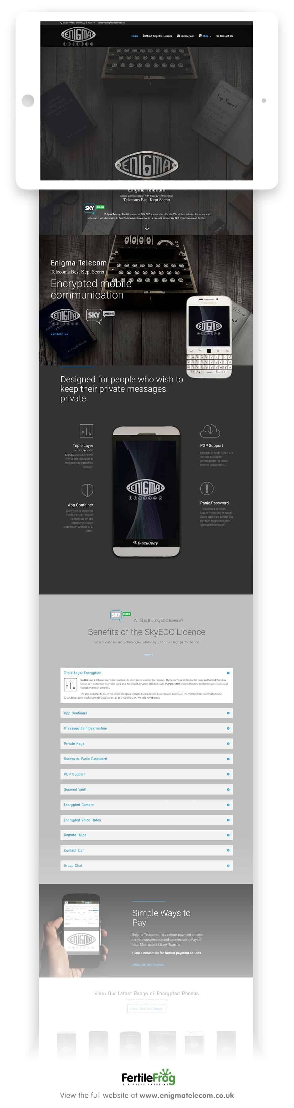 Enigma telecom website home page designed by fertile frog