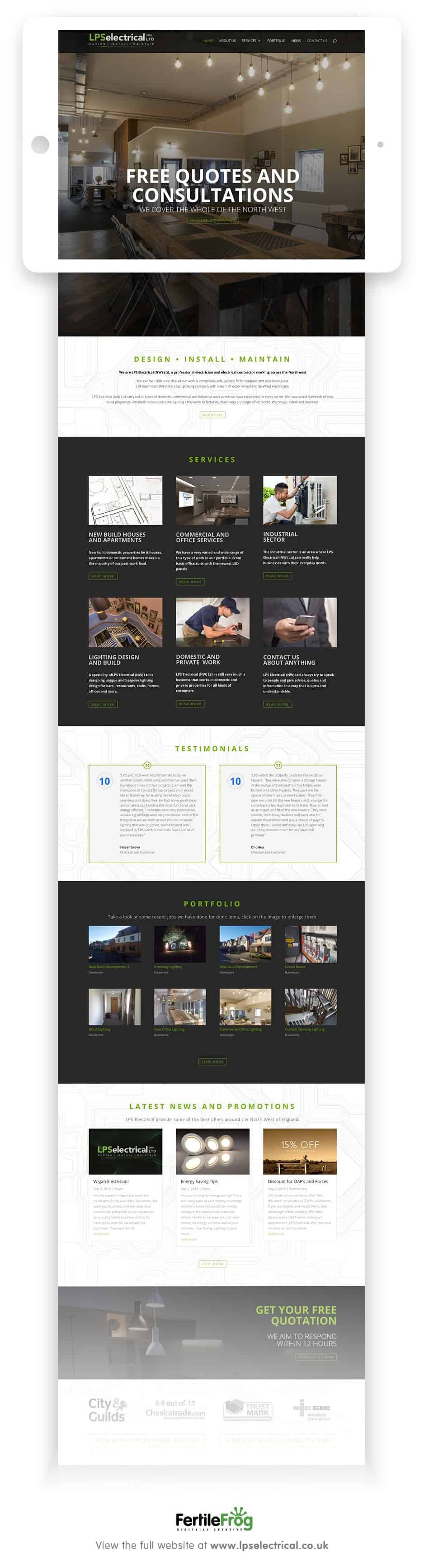 LPS Electrical website home page designed by fertile frog