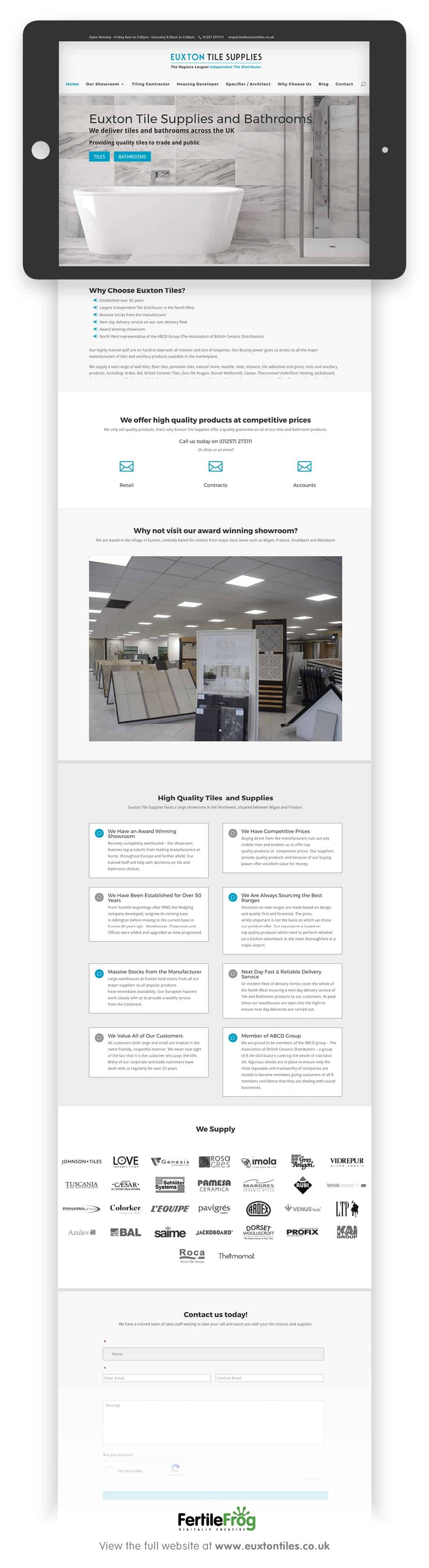 Euxton Tile Supplies Web Build visuals