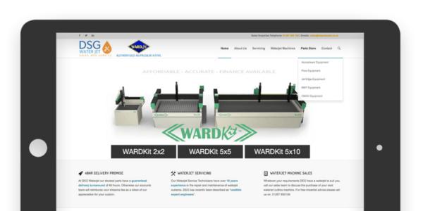 Screenshot of DSG Waterjet's website