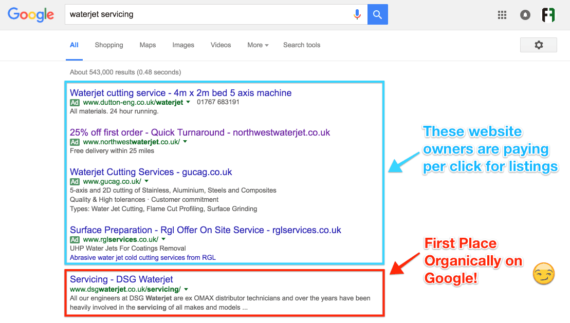 Screenshot showing first place on Google