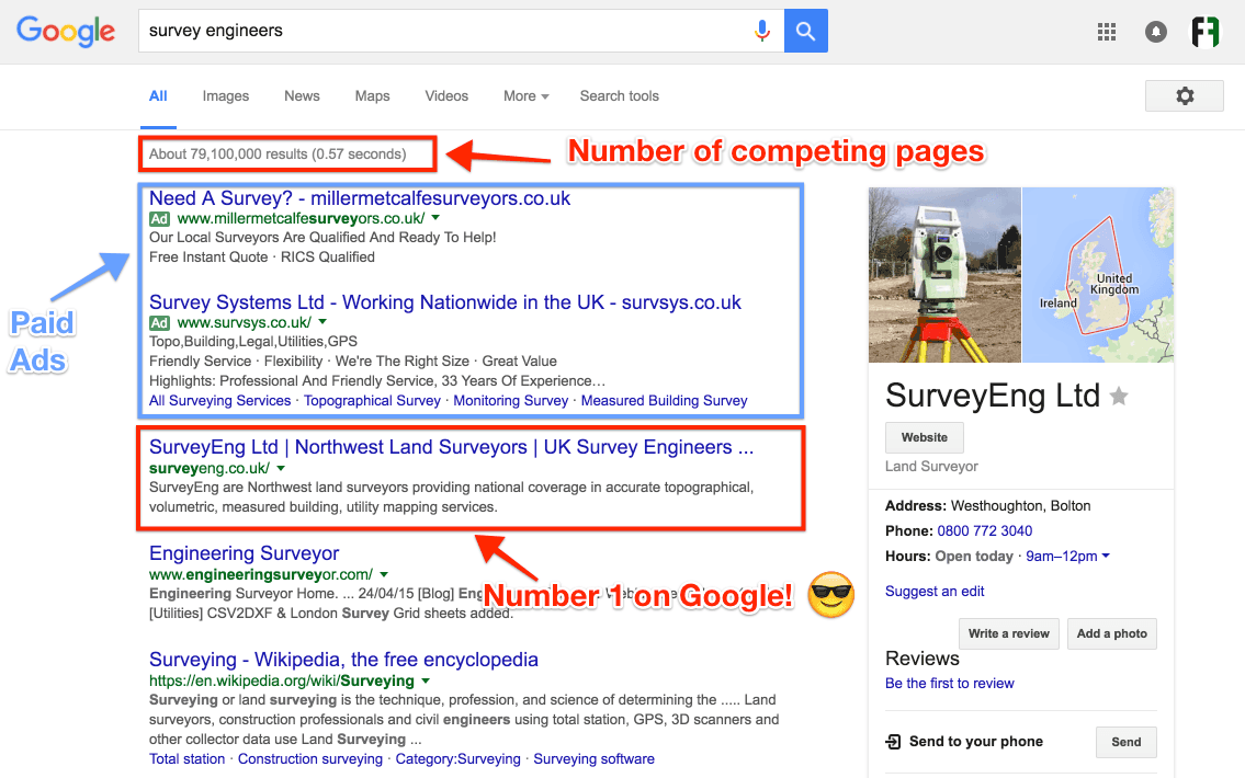 Screenshot of number one ranking for survey engineering website