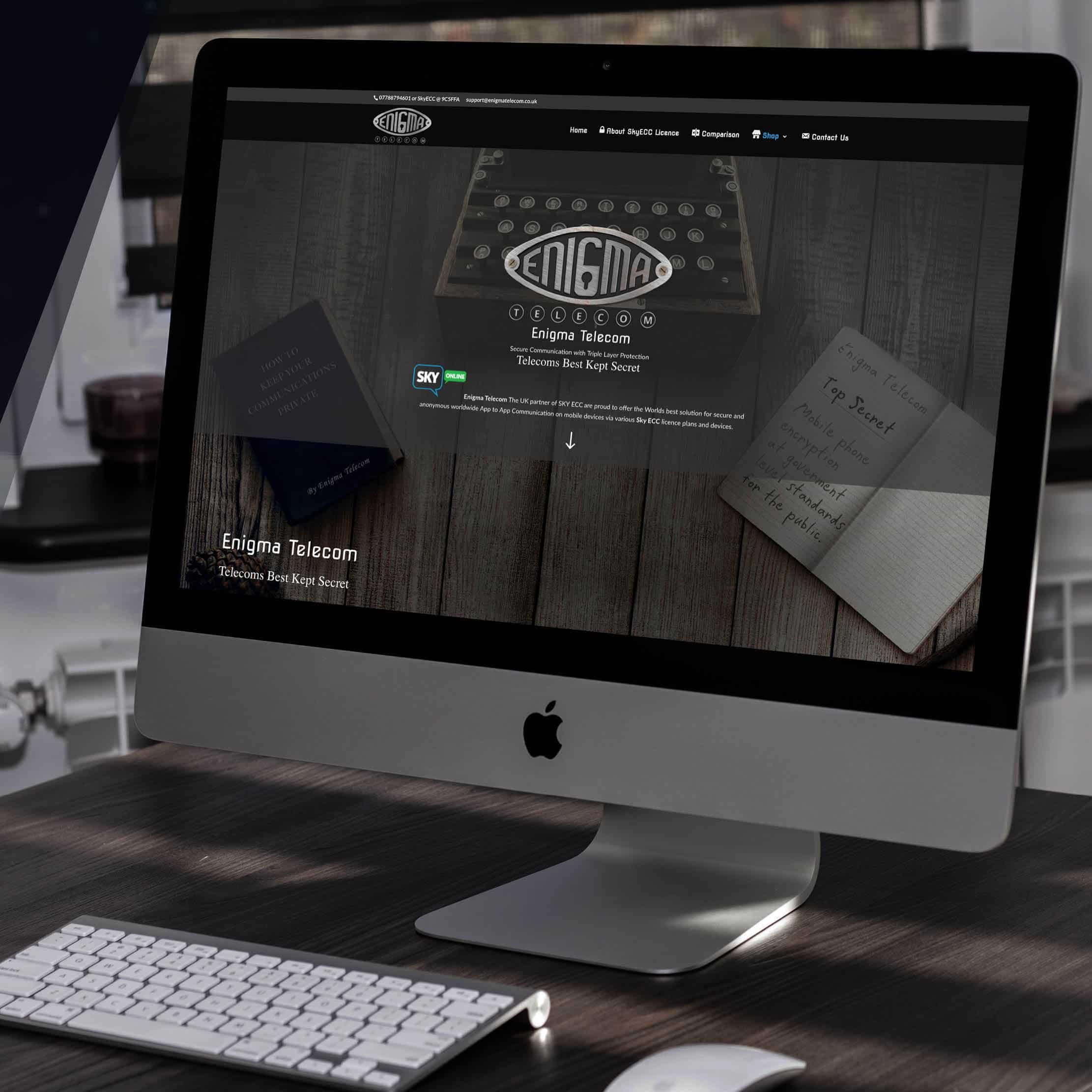 Enigma Telecom website on computer