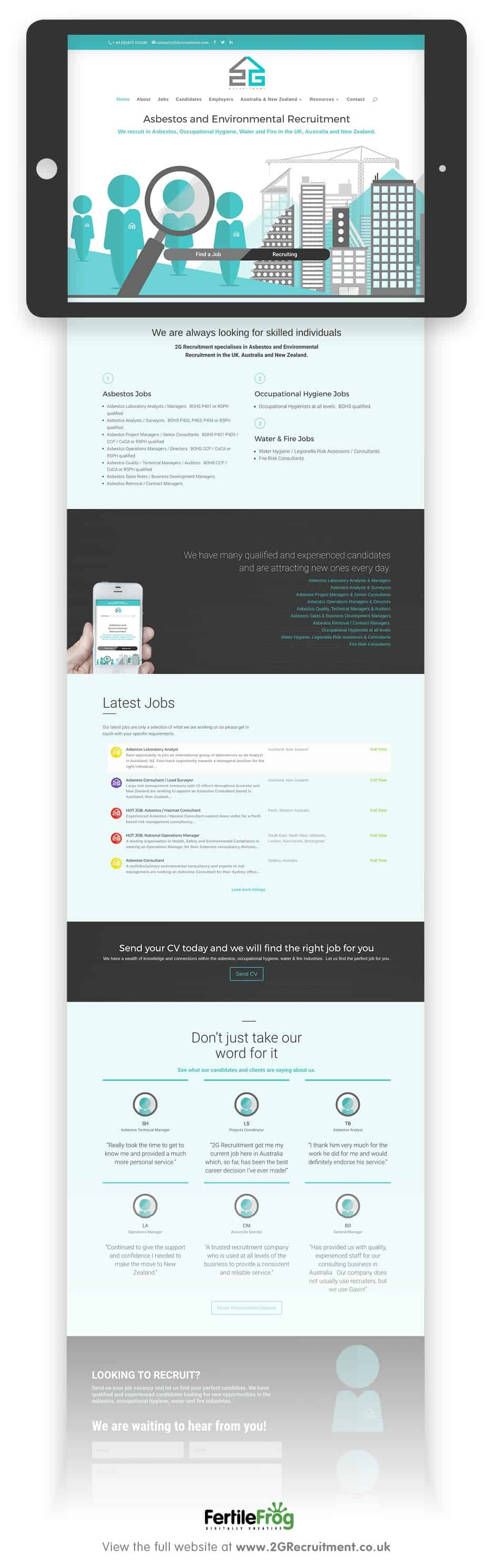2G Recruitment website home page designed by fertile frog
