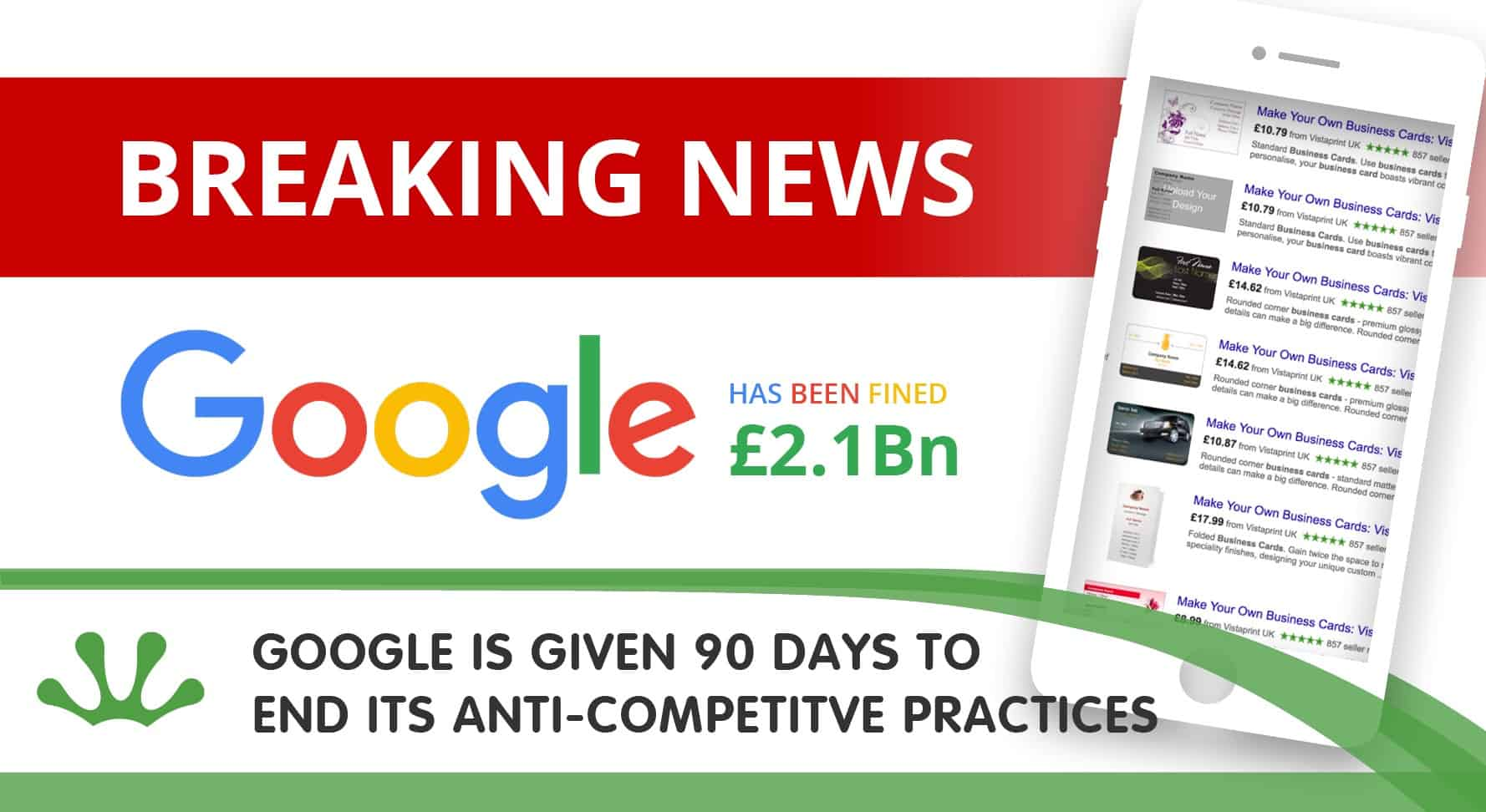 google is given 90 days to end its anti competitve practices