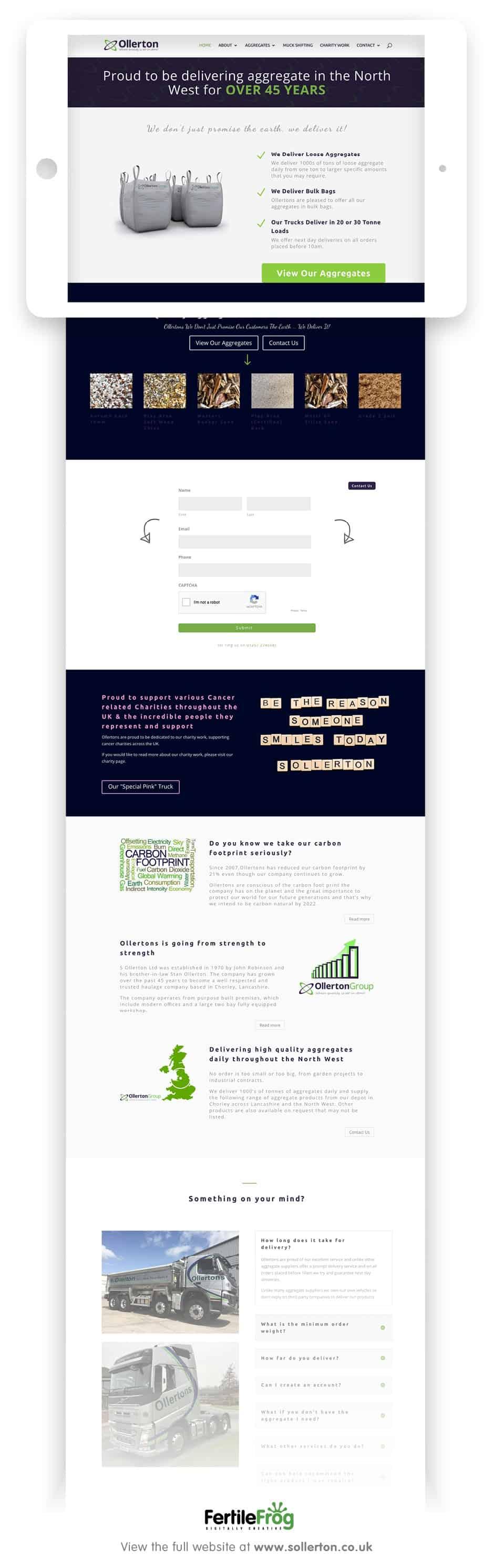 S Ollerton website home page designed by fertile frog