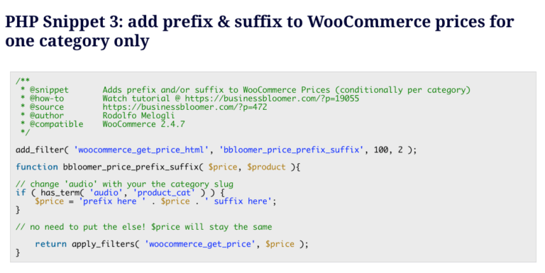 PHP Snippet 3 - Woocommerce Adding Prefix Product Prices