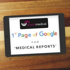Ipad showing 1st Page Google Ranking for 'MEDICAL REPORTS'