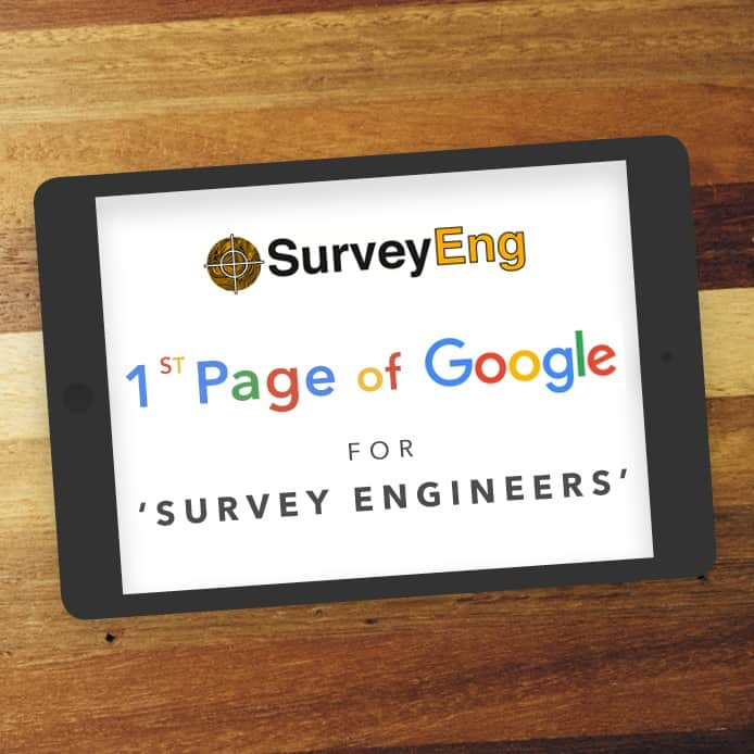 Ipad showing 1st Page Google Ranking for 'SURVEY ENGINEERS'