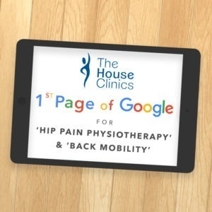 Ipad showing 1st Page Google Ranking for 'HIP PAIN PHYSIOTHERAPY & BACK MOBILITY'