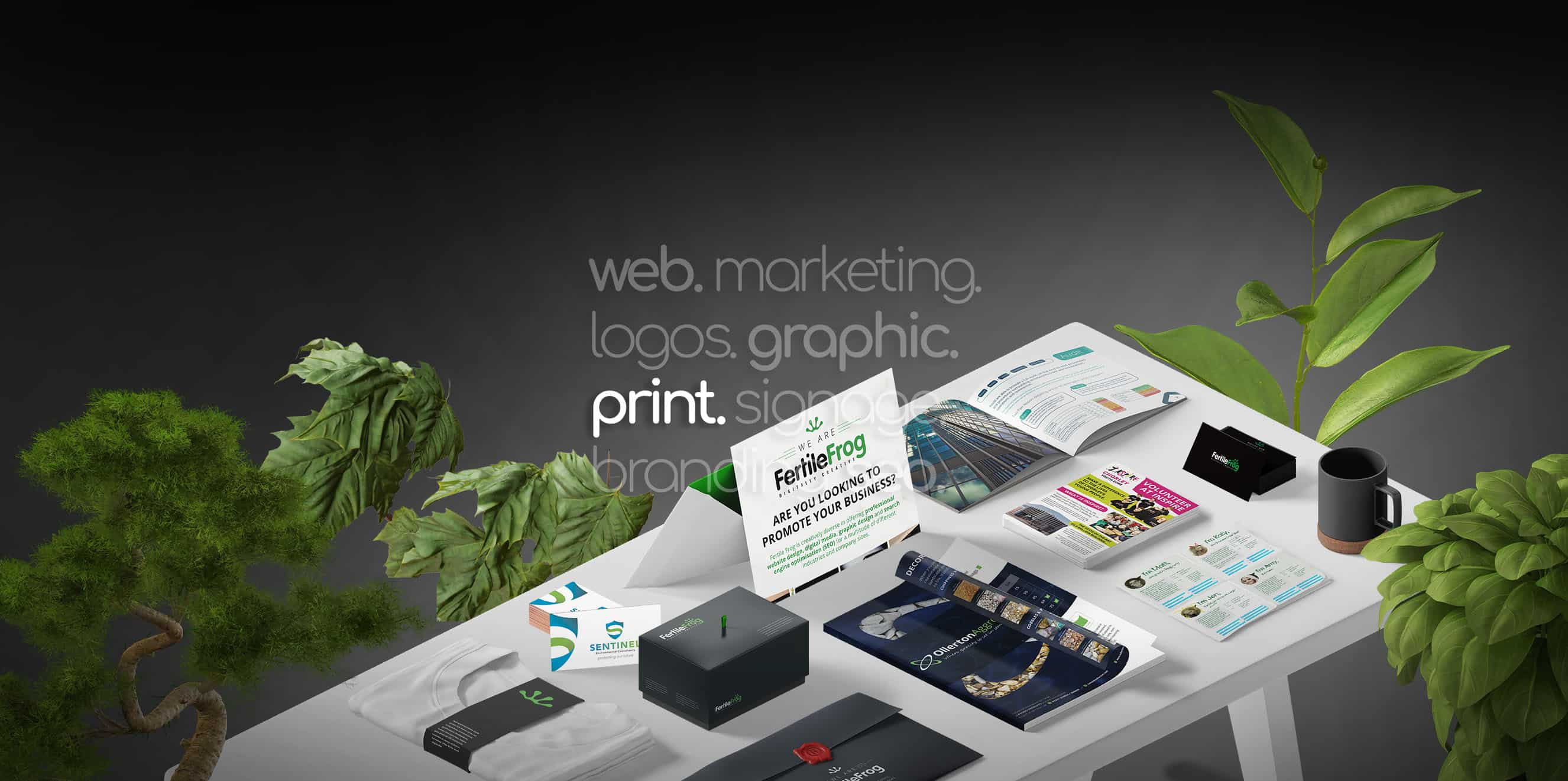 Fertile Frog print work on table with brochures, leaflets, business cards, t-shirts, posters boxes showing work