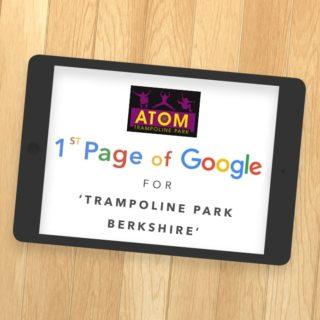 Atom Trampoline Park 1st Page of Google