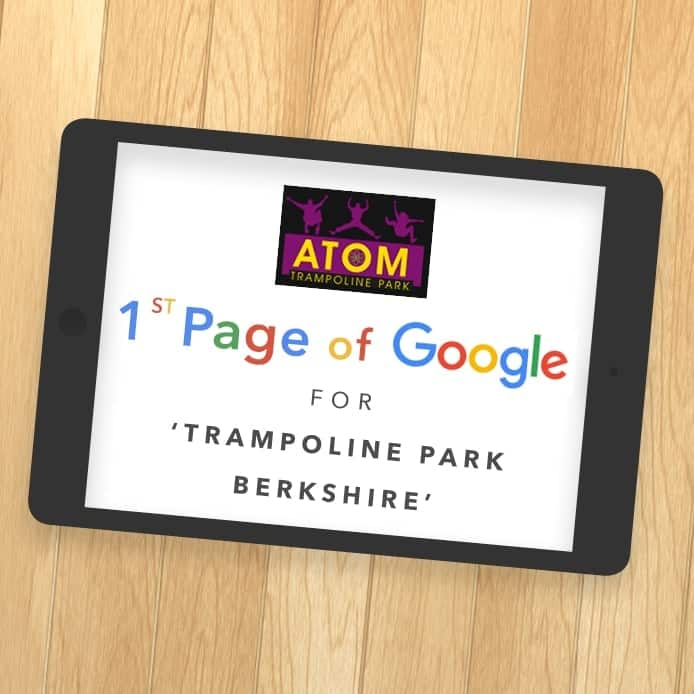 Graphic showing 1st page Google ranking 'TRAMPOLINE PARK BERKSHIRE'