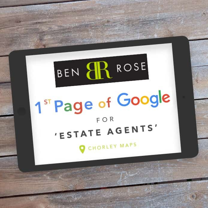Graphic showing 1st page Google ranking 'ESTATE AGENTS'