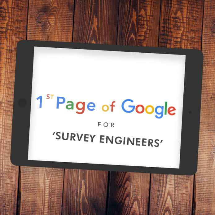 Graphic showing 1st page Google ranking 'SURVEY ENGINEERS'