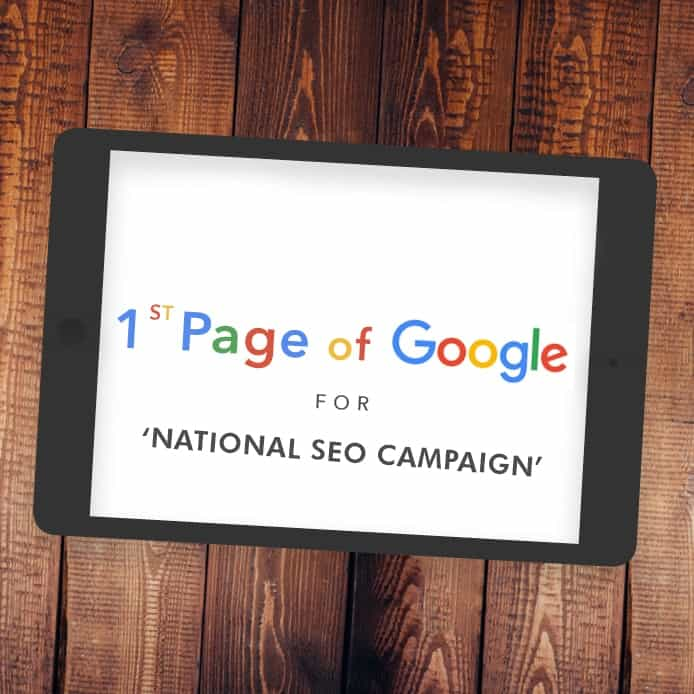 Graphic showing 1st page Google ranking 'NATIONAL SEO CAMPAIGN'