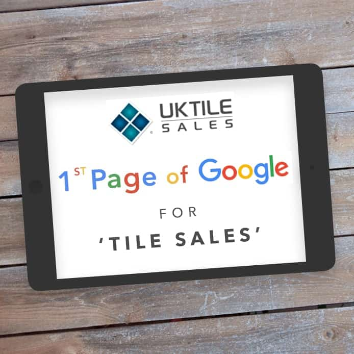 Graphic showing 1st page Google ranking 'TILE SALES'