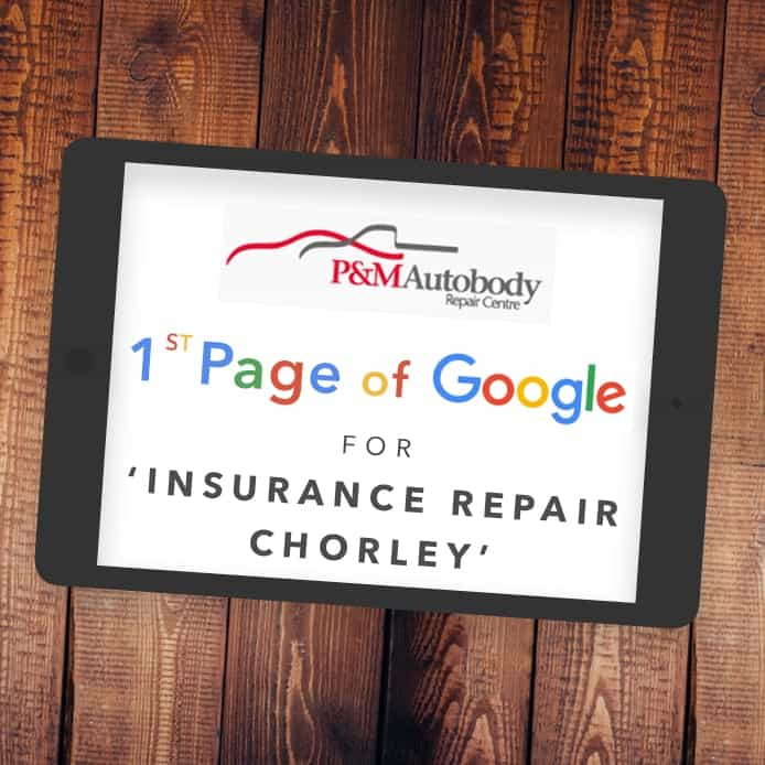 Graphic showing 1st page Google ranking 'INSURANCE REPAIR CHORLEY'
