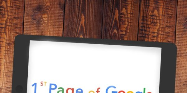 Graphic of Ipad tablet showing '1st Page of Google'