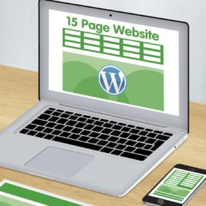 Green and white graphics showing 15 page wordpress website design