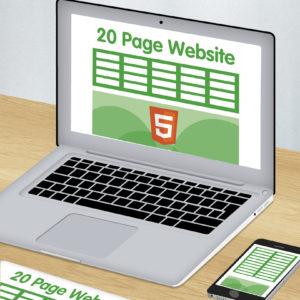 Green and white graphic of laptop showing 20 page HTML website