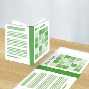 Green and white graphic image of book cover design