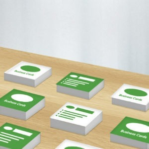 Green and white graphic image of business card design
