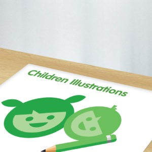Green and white graphic image of children's illustrations
