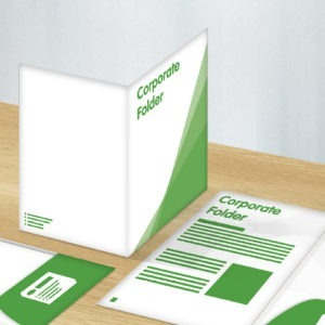 Green and white graphic image of corporate folder design