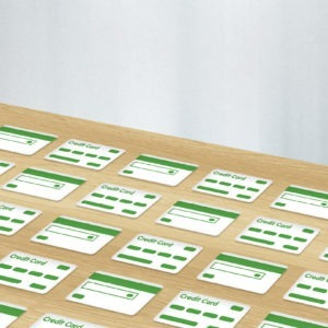 Green and white graphic image of credit card design