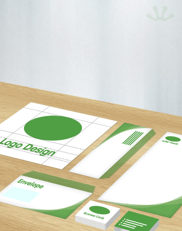 Green and white graphics showing corporate identity package
