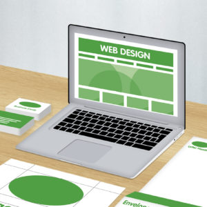Green and white graphics showing corporate identity with web design package