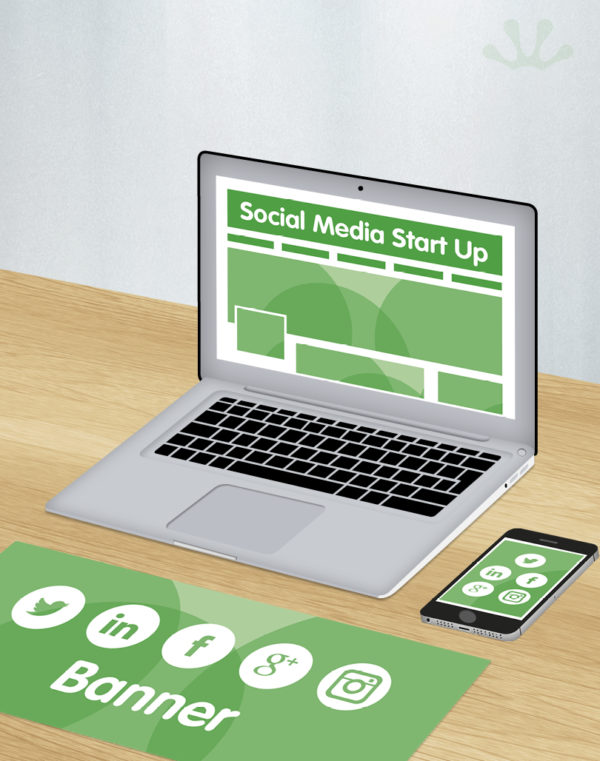 Green and white graphics showing social media start up package
