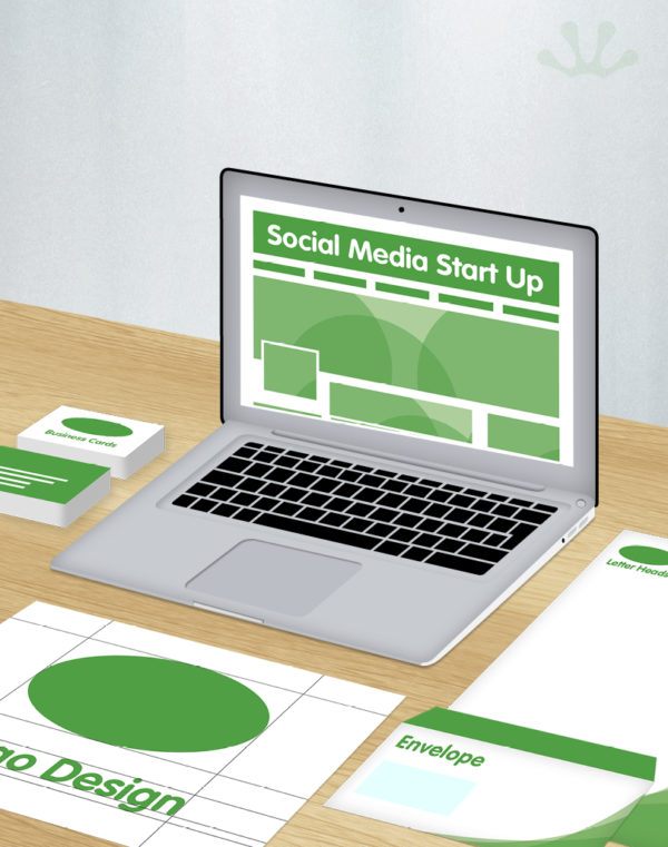 Green and white graphics showing corporate identity package with social media start up