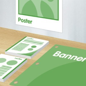 Green and white graphics showing posters, leaflets and banners package