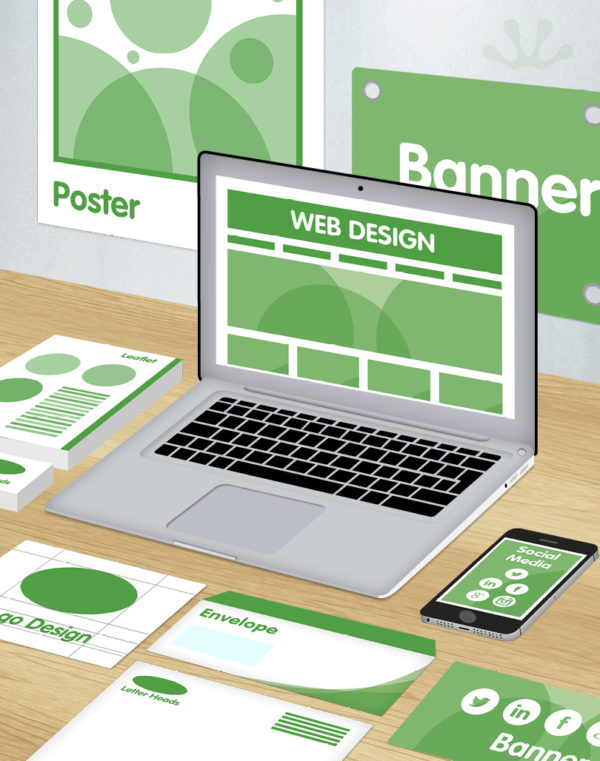 Green and white graphics showing full media package