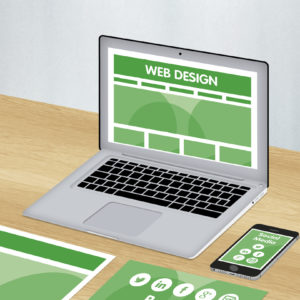 Green and white graphics showing social media package