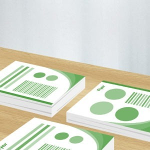 Green and white graphic image of flyer designs