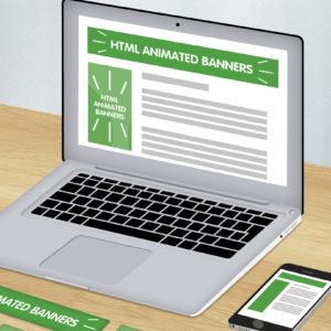 Green and white graphic of laptop showing HTML animated banner design