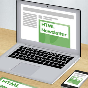 Green and white graphic of laptop showing HTML newsletter design