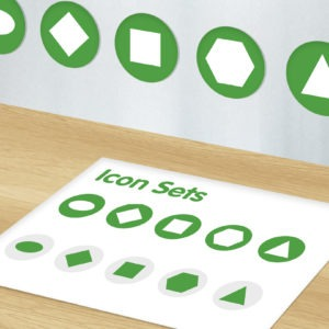 Green and white graphic image of icon set design