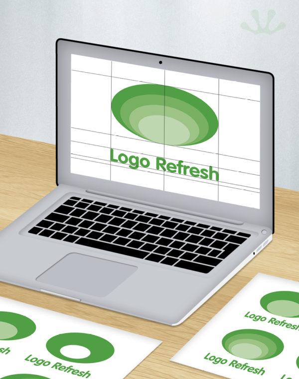 Green and white graphic image of laptop displaying logo refresh design