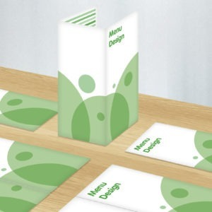 Green and white graphic image of menu designs