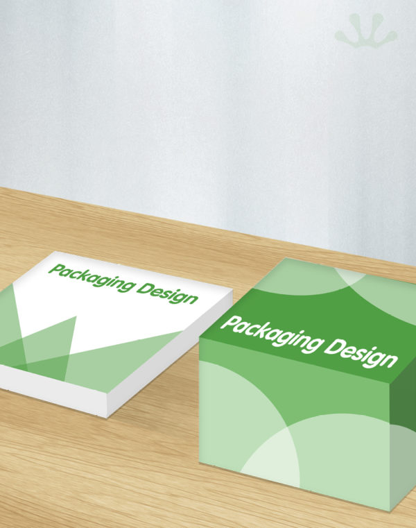 Green and white graphics showing packaging design