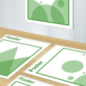 Green and white graphic image of poster and banners