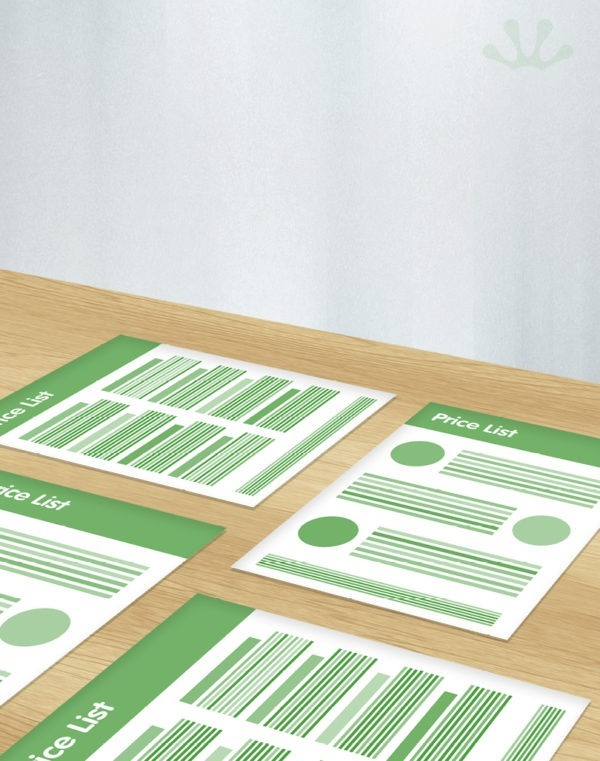 Green and white graphic of price list design
