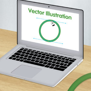 Green and white graphic image of vector illustration