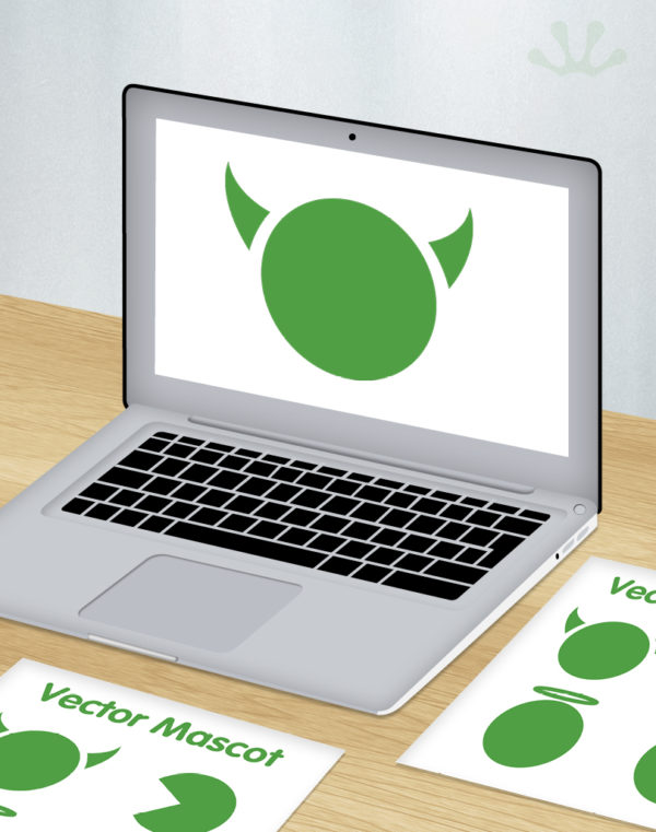 Green and white graphic image of vector mascot design