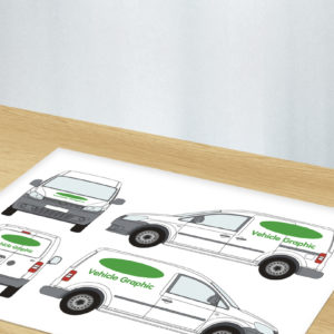 Green and white graphic showing vehicle design