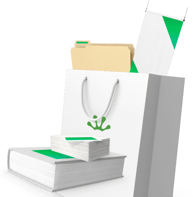 White and green shopping bag, book and business cards